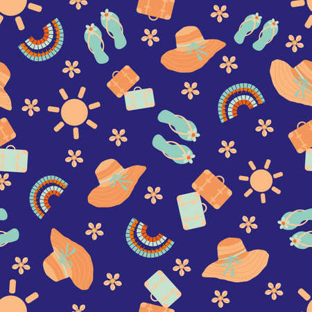 Cute vector travel seamless pattern background with sun, suitcases, kawaii flip flops, sea shells. Fun repeat with orange blue vacation icons on indigo backdrop. For summer, beach holiday, leisure