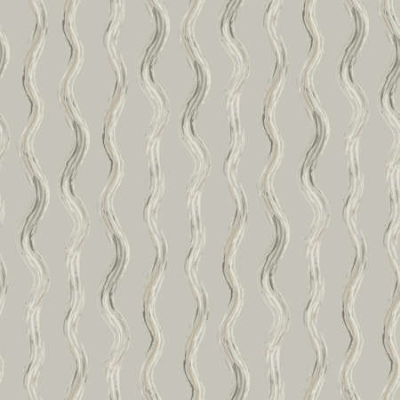 Hand drawn strands of wavy broken fibre strands. Seamless vector pattern with vertical broken stripes. Linear geometric organic neutral monochrome backdrop. Textural rustic cottage style repeat