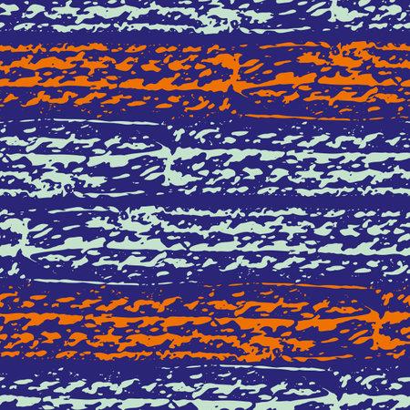 Abstract car or bike tyre vector striped seamless pattern background. Painterly textured wheel tread horizontal broken stripes. Neon orange indigo backdrop. Modern crayon geometric repeat for wellness