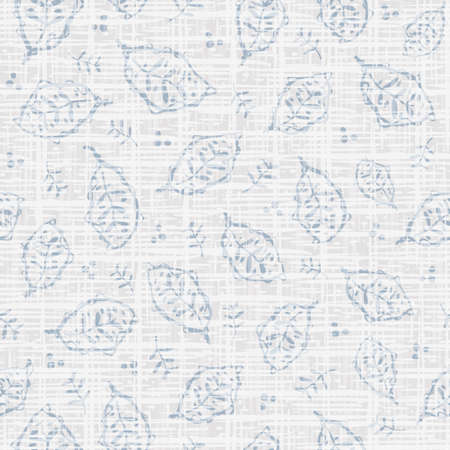 Hand drawn modern leaf and linen vector seamless pattern background. Neutral painterly backdrop scattered faded foliage, sprigs, dots. Modern Scandinavian style.Botanical blended repeat for wellness