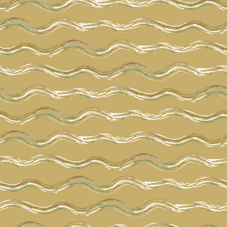 Hand drawn strands of wavy broken stripes.Seamless vector pattern with horizontal irregular fibre strands. Mustard yellow, green, white linear geometric background. Painterly brush rustic repeat