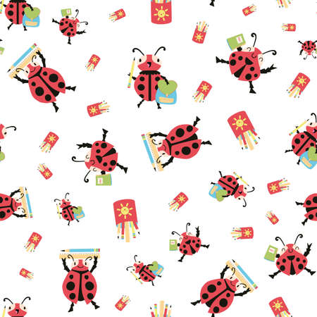 Ladybug back to school vector seamless pattern background. Fun cartoon kawaii ladybird characters with backbacks, pencils, notebooks on white backdrop. Education, kindergarten repeat for children.