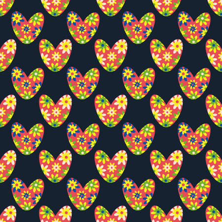 Seamless colorful love heart vector pattern in boho style. Bright flower hearts on black backdrop. Simple folk art floral hearts geometric repeat. All over print for cottage decor crafting concept