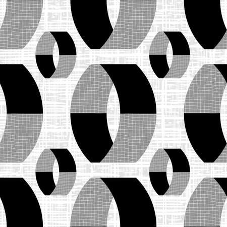 Monochrome textured vector 3D cylinders. Seamless pattern background. Abstract floating ring shapes vertical geometric design on etched backdrop. All over print for technical, business concept