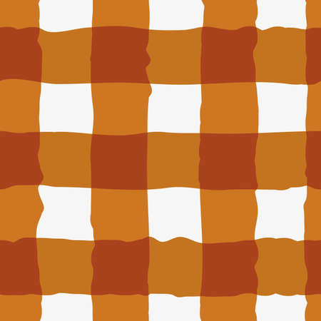 Vector watercolor effect gingham seamless pattern background. Organic irregular stripes painterly grid plaid backdrop. Ochre white checked design. Crinkle faux cloth repeat for packaging, wellness