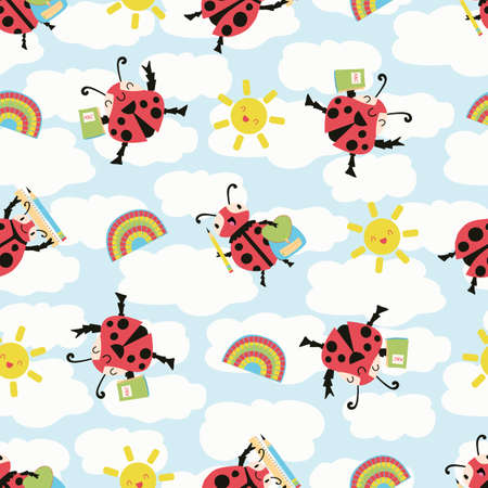 Ladybug back to school vector seamless pattern background. Fun cartoon kawaii ladybird characters with pencils, sun, notebooks on cloud textured backdrop. Education, kindergarten repeat for children.