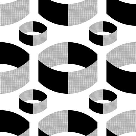 Monochrome textured vector 3D cylinders. Seamless pattern background. Abstract floating ring shapes horizontal geometric design on etched backdrop. All over print for technical, business concept 矢量图像