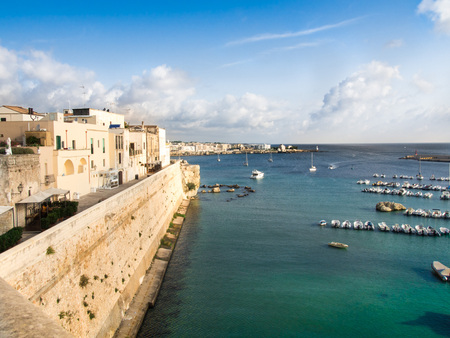 holliday: Otranto, Italy, Puglia, Panoramic view of the bay on the old town center - Summer holliday Stock Photo