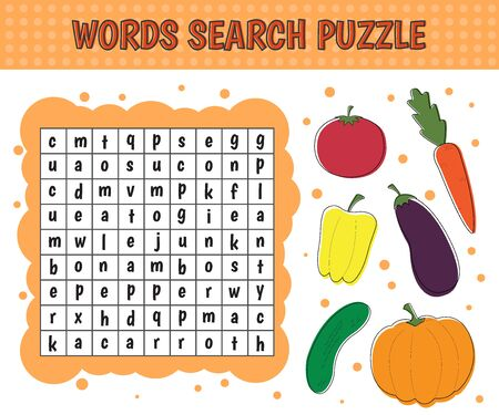 Word search puzzle.Vegetables: cucumber, eggplant, tomato, pepper, pumpkin, carrot. Vector education game for children.