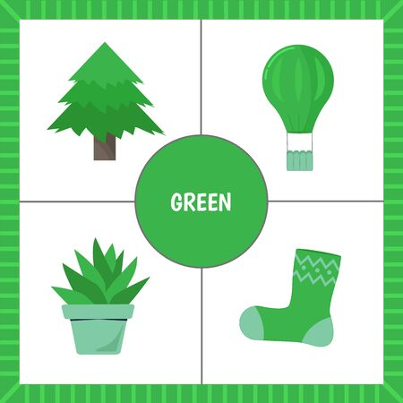 Educational cards for children: learning colors. Objects of green color. Cut out the cards. Vector illustration.