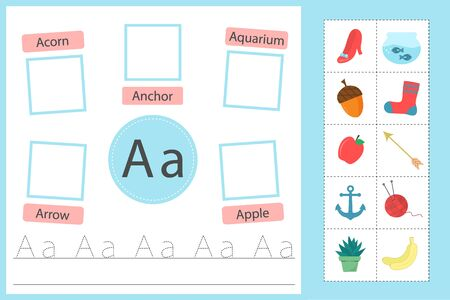 Alphabet tracing worksheet for preschool and kindergarten. Writing practice letter A. Exercises with cards for kids. Vector illustration