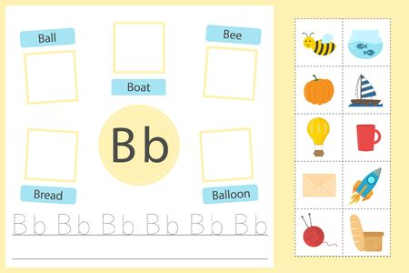 Alphabet tracing worksheet for preschool and kindergarten. Writing practice letter B. Exercises with cards for kids. Vector illustration