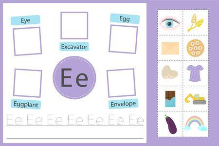 Learn the English alphabet. The letter E. Training in reading and writing.  イラスト・ベクター素材