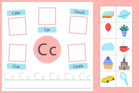 Learn the English alphabet. The letter C. Training in reading and writing.