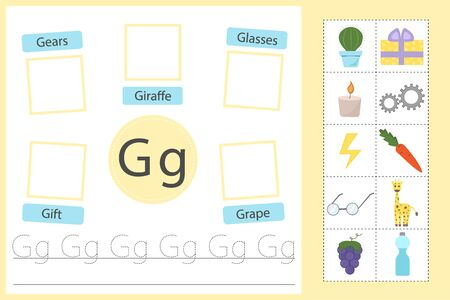 Alphabet tracing worksheet for preschool and kindergarten. Practice writing letter G. Exercises with cards for kids. Vector illustration