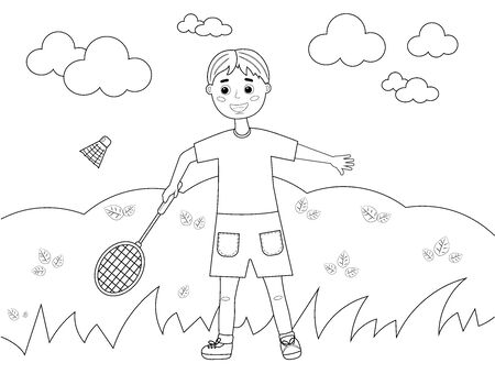 Children's coloring book. A boy plays badminton in nature. Vector illustration.