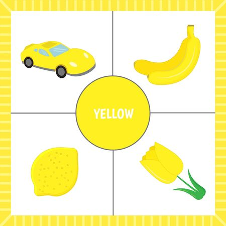 Educational cards for children: learning colors. Objects of yellow color. Cut out the cards. Vector illustration.