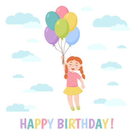 Birthday greeting card. A girl is flying in the sky on balloons. Cartoon style. Vector illustration.