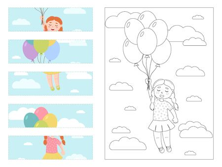 Puzzle game for children. A girl holds balloons. Cut out the details and assemble the picture. Coloring page. Vector.  イラスト・ベクター素材