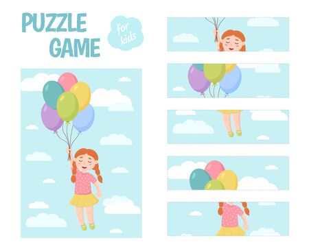 Puzzle game for children. A girl holds balloons. Cut out the details and assemble the picture. Vector.