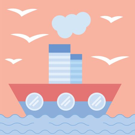 The ship sails into the sea. Concept of cruise, voyage, sea trip. Flat style. Postcard. Vector illustration.