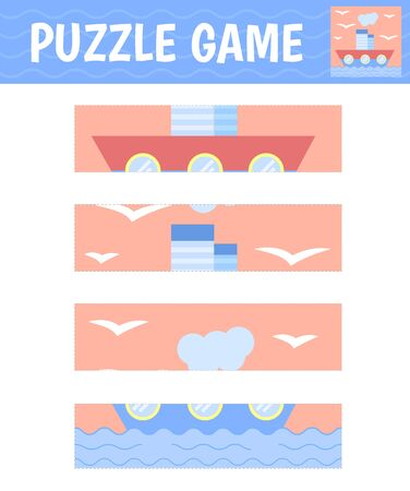 Puzzle ship. Children's game for preschool. Cut and assemble the image. Vector.  イラスト・ベクター素材