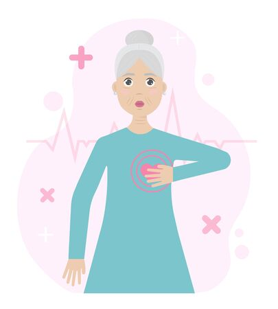 Pain in heart. Concept of heart attack. Elderly woman. Vector illustration.