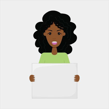 An African-American girl holds a placard. Concept of demonstration, movement against racism. for women's freedom. Space for your text. Isolated vector illustration.  イラスト・ベクター素材