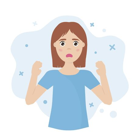 Emotional girl. Panic attacks, anxiety, surprise, shock, stress concept. Vector illustration.