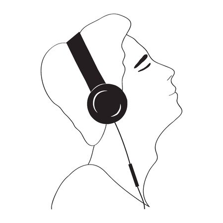 Profile portrait of man in headphones - line drawing. Concept listening to music, reading an audiobook, therapy with relaxing music, audio meditation. Hand drawing. Vector illustration.