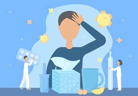 The concept of the treatment of colds, flu, runny nose, coronavirus. Flat tiny style. Vector illustration.  イラスト・ベクター素材