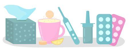 Cold, flu, disease, coronavirus concept. Treatment of colds-pills, tea, lemon. Vector illustration.