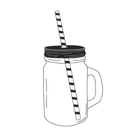 Glass mug with handle in linear style. hand drawing, doodle. A tube for juice. vector illustration.