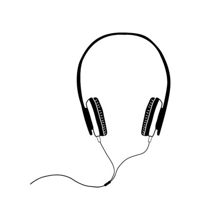 Headphones on a white background in a linear style. Sketch, hand-drawing. Vector.