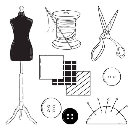 Cutting, sewing set. Mannequin, scissors, thread. Linear style, Doodle. Vector illustration.