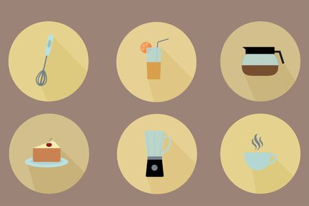 Kitchen icon set. Food, drinks, kitchen appliances. Vector illustration.