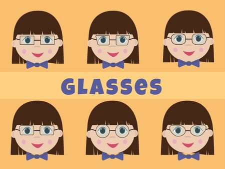 Different shape of eyeglass frames. Set types of glasses. Vector illustration of a girl with glasses.  イラスト・ベクター素材