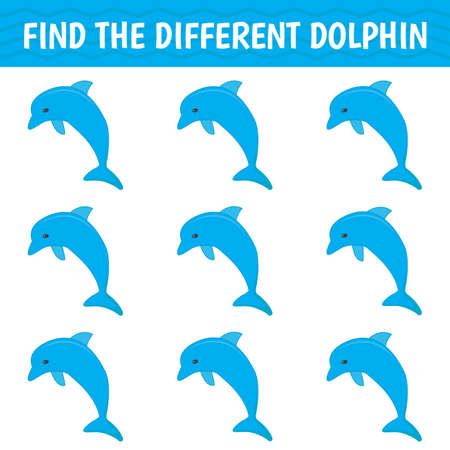 Game for kids and adults. Find a different dolphin among the same ones. Vector illustration  イラスト・ベクター素材