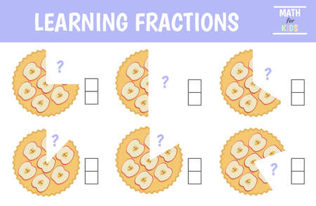 A math fractions worksheet. Learning fractions. Pie. Vector illustration