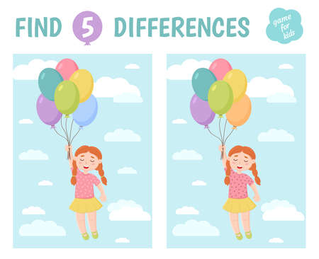 Find the differences. Red-haired girl with balloons. Children's game of mindfulness. Vector illustration.