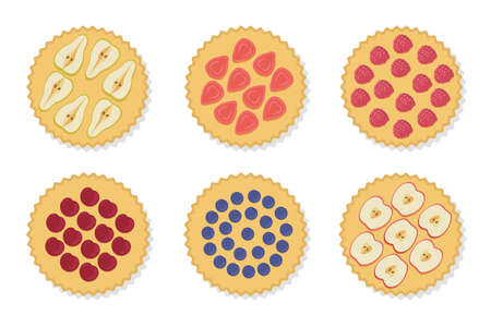 Pie set. Vector illustration isolated on white background. Pie with apple, pear, raspberry, strawberry, blueberry, cherry. Dessert concept.  イラスト・ベクター素材