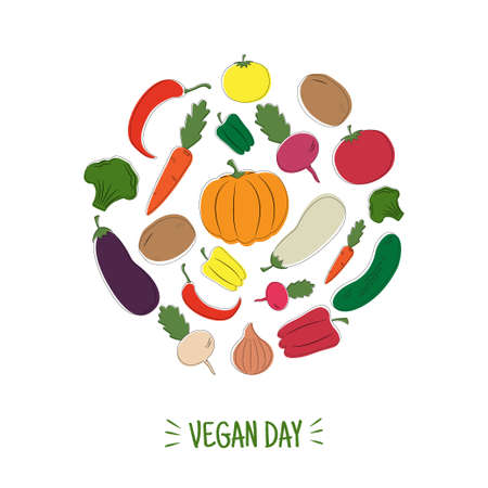 Hand drawn set of colored vegetables on white background. Vegan day card. Vector illustration.  イラスト・ベクター素材