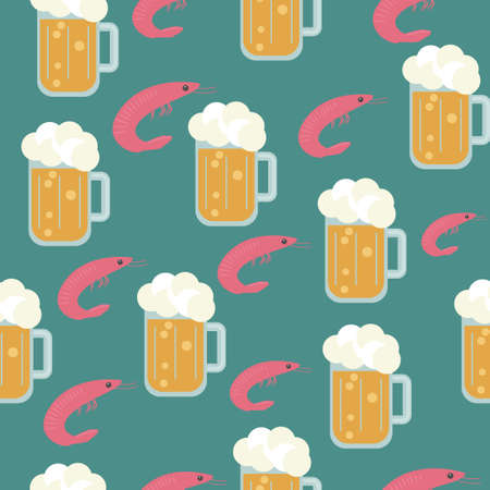 Beer and snacks. Vector seamless pattern. Beer festival concept. Background with beer in a mug and shrimp.