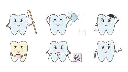 Cute cartoon tooth set. Dental hygiene concept.  イラスト・ベクター素材