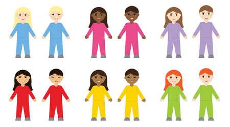 Cartoon children of different nationalities in colored overalls.