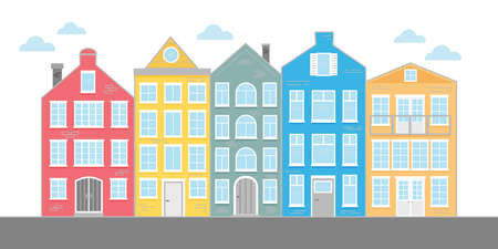 Street with colored houses. Flat Vector illustration.