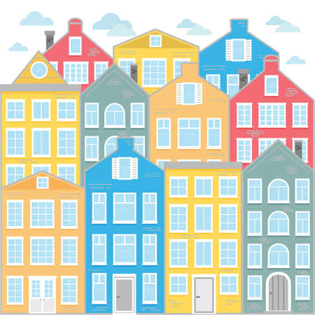 Street with colored houses. Flat Vector illustration. Old houses in the Dutch style. Buildings in the Netherlands.