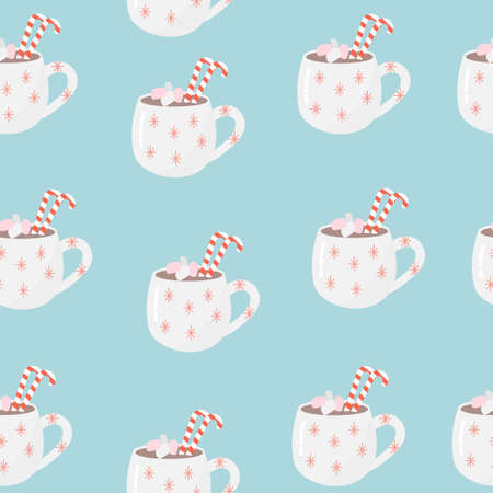 Seamless pattern of a mug of hot chocolate with caramel and marshmallows on a blue background.