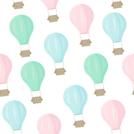 Seamless pattern with balloons in pastel colors. Vector illustration.