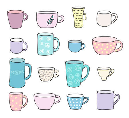 Vector set of mugs in the hand drown style. Illustration on white background in pastel colors.